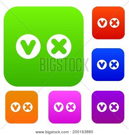 Fat tick and cross in circles set icon in different colors isolated vector illustration. Premium collection