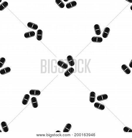 Three pills pattern repeat seamless in black color for any design. Vector geometric illustration