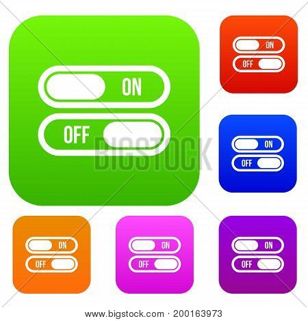 Button on and off set icon in different colors isolated vector illustration. Premium collection