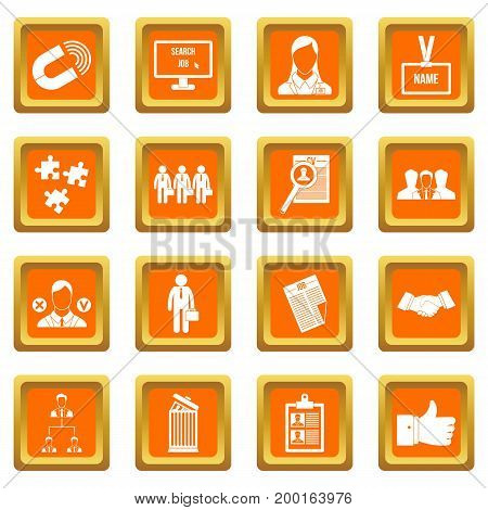 Human resource management icons set in orange color isolated vector illustration for web and any design