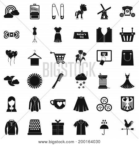 Beautiful dress icons set. Simple style of 36 beautiful dress vector icons for web isolated on white background