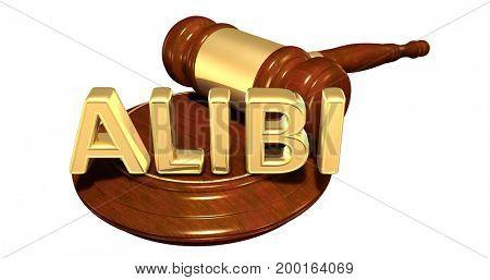 Alibi Law Concept 3D Illustration