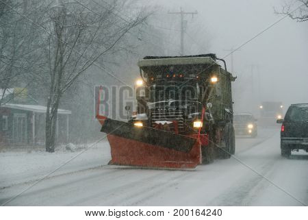 Seekonk Massachusetts USA - December 31 2008: Snowplow ready for action in developing New England snowstorm