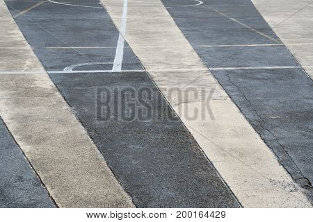 Texture of asphalt road surface with white traffic strip