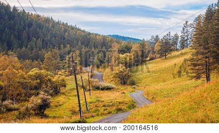 Landscape of the Altai Mountains in the autumnal clear day. Automobile winding road leaving in the distance in the mountains between the green coniferous forest and power lines blue sky with clouds
