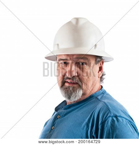 Construction worker isolated against a white background.