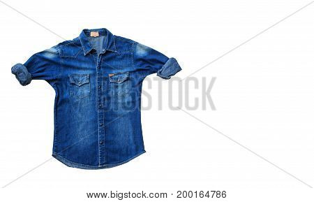 Close up denim jeans shirts isolated on white background