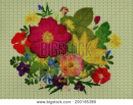 Illustrations. Cross-stitch. Bouquet boutonniere from wild flowers. Scrapbooking.