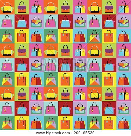 Retro pop art women purse and hand bags set pattern