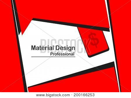 Material Design Background In Red Color.