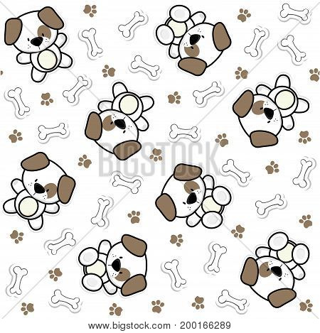 seamless pattern of funny baby dogs and puppy elements that looks like stickers, useful for many applications, your background designs or scrapbooking and decoration projects, design for children