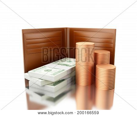 3D Illustration. Wallet With Stack Of Bills And Coins