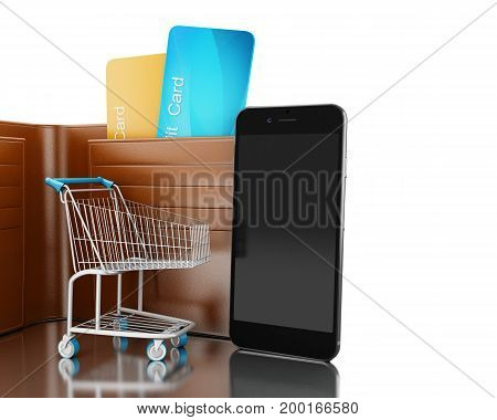 3D Illustration. Dollars In Wallet With Shopping Cart And Smartphone