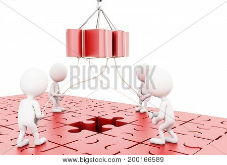 3D Illustration. Business Team Building A Puzzle Jigsaw