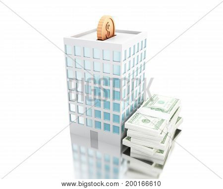 3D Illustration. Putting Coins Into Piggy Bank Building With Stack Of Bills