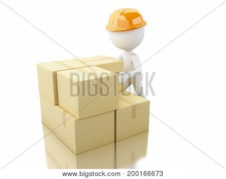 3D White People Unload Cardboard Boxes