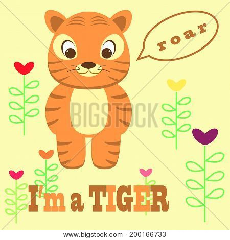 an illustration of a cute tiger saying roar