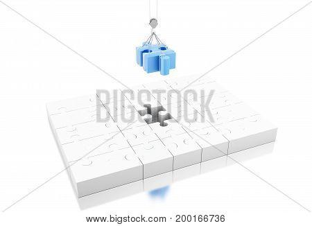 3D Illustration. Last Piece Of Jigsaw Puzzle