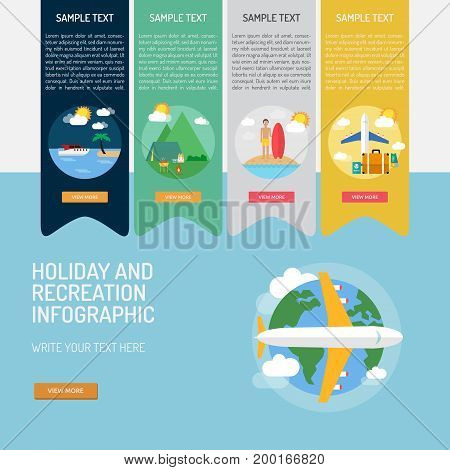 Holiday and Recreation Infographic | Use for holiday, recreation, travel, hobby and much more. The set can be used for several purposes like: websites, print templates, presentation templates, promotional materials, info