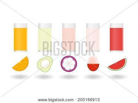 Fruit Pulps Isolated On White Background.
