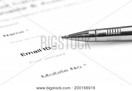 Filing a form with e mail ID with ballpoint