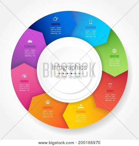 Infographic design elements for your business data with 8 options parts steps timelines or processes Arrow wheel circle style. Vector Illustration.