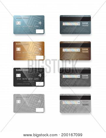 Illustration of Vector Credit Card Set. Realistic Bank Cards Isolated on White Background