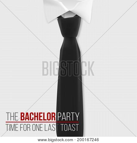 Illustration of Realistic Vector White Shirt. The Bachelor Party Invitation Template. Vector Mens Shirt with Black Tie