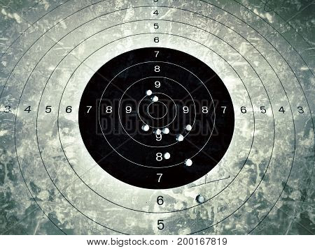 Bull eye target with bullet hole, grunt style color tone