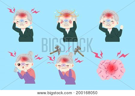 old peopele with head ache on the blue background