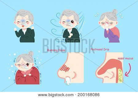 old peopele with sick problem on blue background