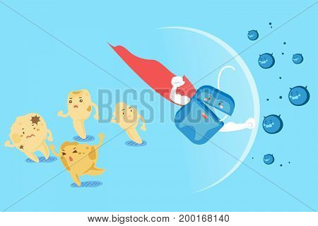 cute cartoon super floss fight with bacterium for your health design