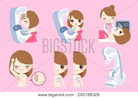 woman doctor with breast cancer on the pink background
