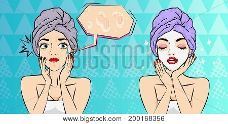 pop of cartoon woman with beauty concept