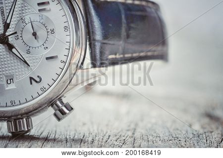 Beautiful blue crocodile leather watch. Focus on the watch. Luxury and vintage watch