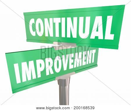 Continual Improvement Road Street Signs Improving 3d Illustration