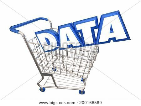 Data Shopping Cart Buy Information Facts 3d Illustration