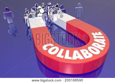 Collaborate Magnet Working Together Teamwork 3d Illustration
