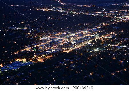 Downtown Boulder Colorado at Night Long Exposure