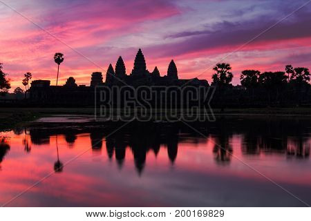 Angkor Wat Temple At Dramatic Sunrise