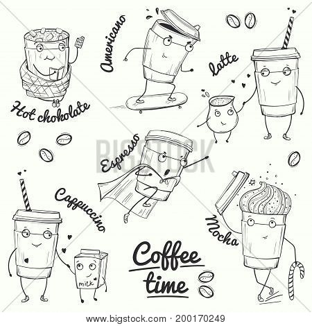 Coffee time sketch style characters, Vector illustration