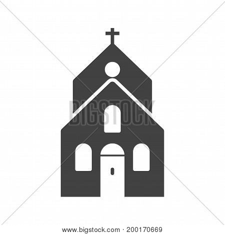 Church, building, catholic icon vector image. Can also be used for funeral. Suitable for mobile apps, web apps and print media.