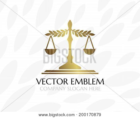 Balance with leaves. Law firm logo template. Concept for legal firms notary offices or justice companies. Shape version