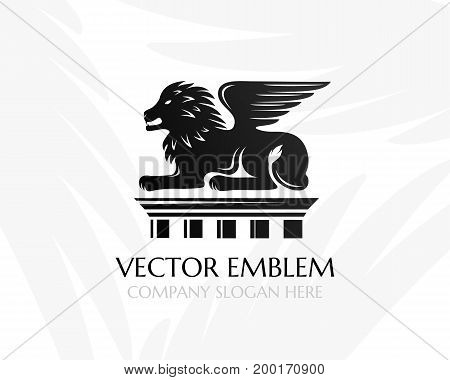 Lion with wings on the pillar. Law firm logo template. Concept for legal firms notary offices justice companies banks