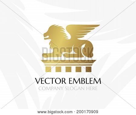 Lion with wings on the pillar. Law firm logo template. Concept for legal firms notary offices justice companies banks. Golden version