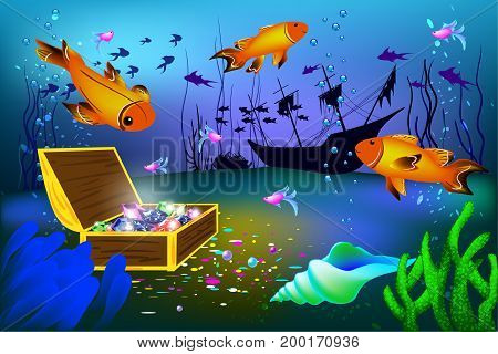 Undersea vector illustration with sunk ship and chest with gems and big fishes