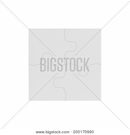 3d rendering of four white puzzle pieces connected together on white background. Games and toys. Thinking and guesswork. Problems and solutions.