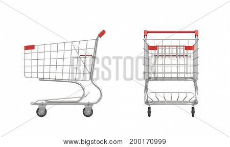3d rendering of a shopping cart with a red handle in front and side view on white background. Sales and promotions. Grocery shop and supermarket. Going shopping.