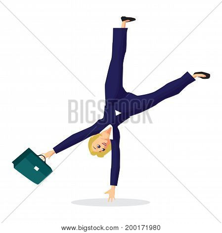 Business woman somersaults over her head. Joy and happiness from luck. Vector flat design illustration isolated on white background