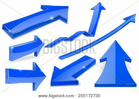 Set of blue arrows. 3d shiny icons. Vector illustration isolated on white background